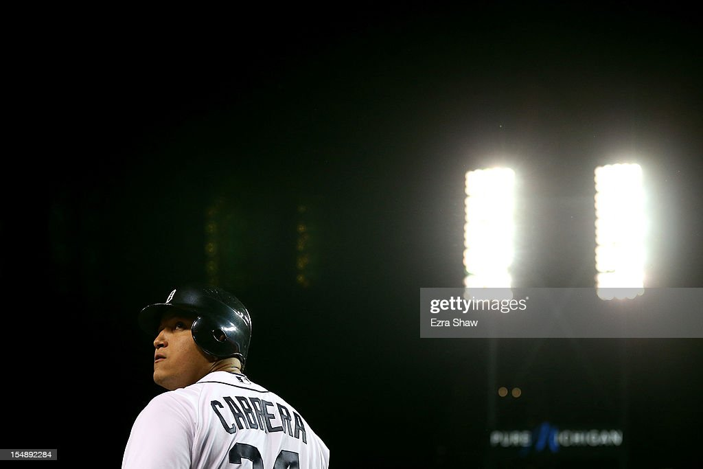Miguel Cabrera #24 of the Detroit Tigers warms up prior to his at bat against Max Scherzer #37 of the Detroit Tigers in the first inning during Game Four of the Major League Baseball World Series at Comerica Park on October 28, 2012 in Detroit, Michigan.
