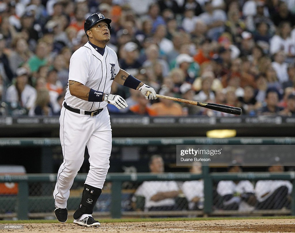 <a gi-track='captionPersonalityLinkClicked' href=/galleries/search?phrase=Miguel+Cabrera&family=editorial&specificpeople=202141 ng-click='$event.stopPropagation()'>Miguel Cabrera</a> #24 of the Detroit Tigers watches his double during the sixth inning of a game against the Tampa Bay Rays at Comerica Park on July 3, 2014 in Detroit, Michigan.