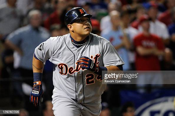 Miguel Cabrera of the Detroit Tigers watches his solo home run in the first inning of Game Six of the American League Championship Series against the...