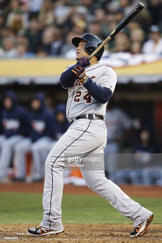 <a gi-track='captionPersonalityLinkClicked' href=/galleries/search?phrase=Miguel+Cabrera&family=editorial&specificpeople=202141 ng-click='$event.stopPropagation()'>Miguel Cabrera</a> #24 of the Detroit Tigers watches his two-run home run in the fourth inning against the Oakland Athletics during Game Five of the American League Division Series at O.co Coliseum on October 10, 2013 in Oakland, California.