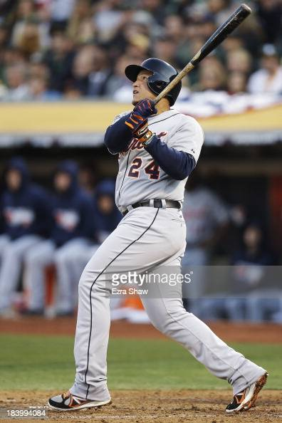 Miguel Cabrera of the Detroit Tigers watches his tworun home run in the fourth inning against the Oakland Athletics during Game Five of the American...