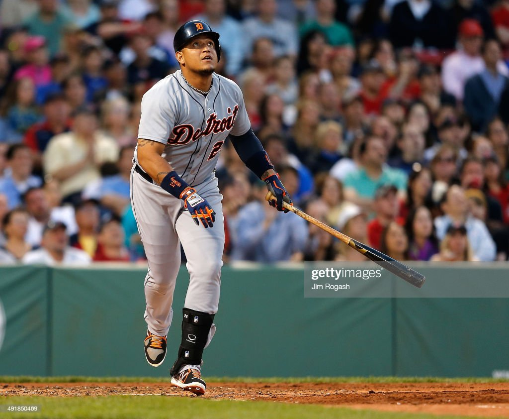 <a gi-track='captionPersonalityLinkClicked' href=/galleries/search?phrase=Miguel+Cabrera&family=editorial&specificpeople=202141 ng-click='$event.stopPropagation()'>Miguel Cabrera</a> #24 of the Detroit Tigers watches the flight of his home run against the Boston Red Sox in the third inning at Fenway Park on May 17, 2014 in Boston, Massachusetts.