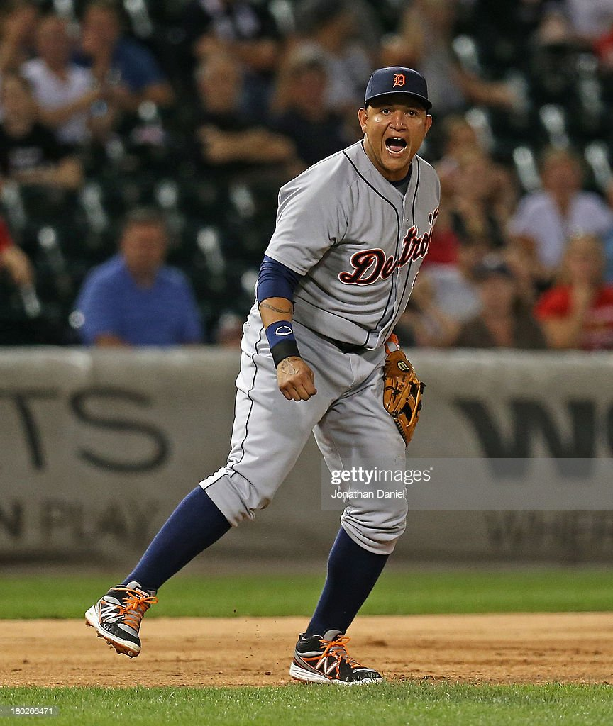 <a gi-track='captionPersonalityLinkClicked' href=/galleries/search?phrase=Miguel+Cabrera&family=editorial&specificpeople=202141 ng-click='$event.stopPropagation()'>Miguel Cabrera</a> #24 of the Detroit Tigers yells after throwing out Miguel Gonzalez of the Chicago White Sox in the 7th inning at U.S. Cellular Field on September 10, 2013 in Chicago, Illinois.