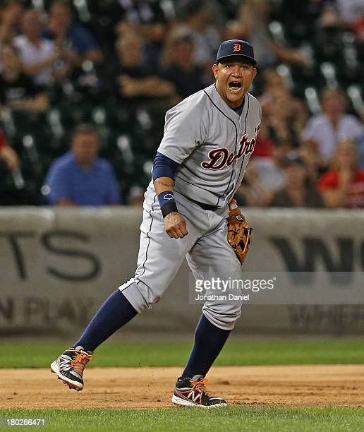 Miguel Cabrera of the Detroit Tigers yells after throwing out Miguel Gonzalez of the Chicago White Sox in the 7th inning at US Cellular Field on...