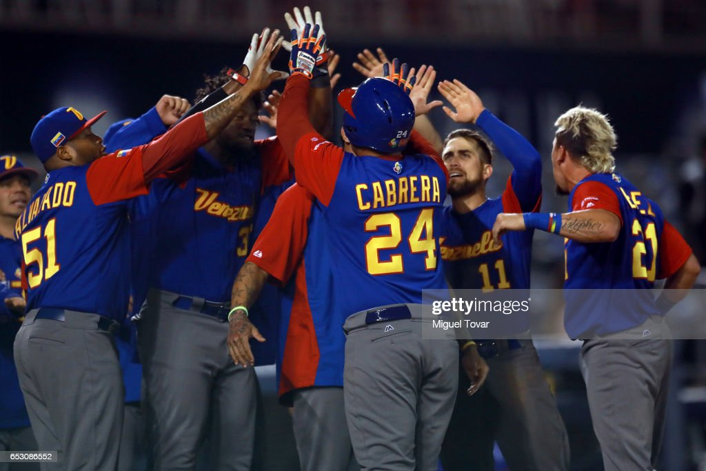 Miguel Cabrera #24 of Venezuela celebrates after hitting a home run in the top of the ninth inning during the World Baseball Classic Pool D Game 7 between Venezuela and Italy at Panamericano Stadium on March 13, 2017 in Zapopan, Mexico.