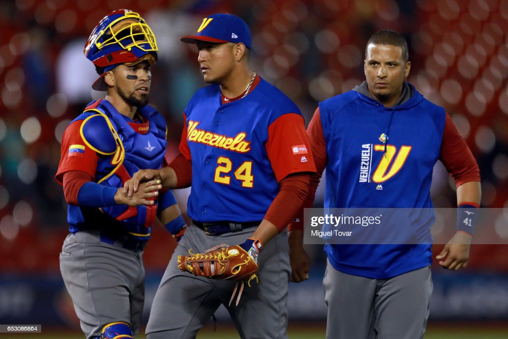 Miguel Cabrera #24 of Venezuela, center, reacts after defeated Italy in the bottom of the ninth inning during the World Baseball Classic Pool D Game 7 between Venezuela and Italy at Panamericano Stadium on March 13, 2017 in Zapopan, Mexico.