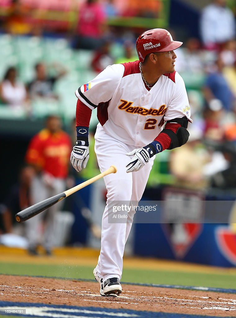 <a gi-track='captionPersonalityLinkClicked' href=/galleries/search?phrase=Miguel+Cabrera&family=editorial&specificpeople=202141 ng-click='$event.stopPropagation()'>Miguel Cabrera</a> #24 of Venezuela hits a home run against Spain during the first round of the World Baseball Classic at Hiram Bithorn Stadium on March 10, 2013 in San Juan, Puerto Rico.