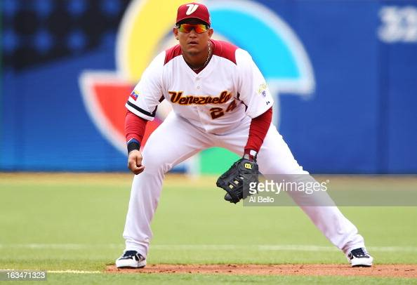 Miguel Cabrera of Venezuela in action against Spain during the first round of the World Baseball Classic at Hiram Bithorn Stadium on March 10 2013 in...