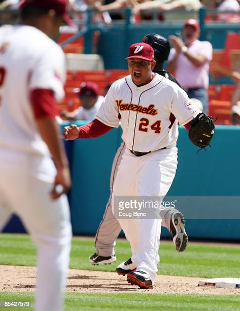 Miguel Cabrera of Venezuela reacts after ending the top of the fifth inning against the Netherlands during round 2 of the World Baseball Classic at...