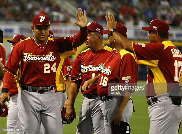 Miguel Cabrera of Venezuelais introduced before the game against the Dominican Republic during the first round of the World Baseball Classic at Hiram...