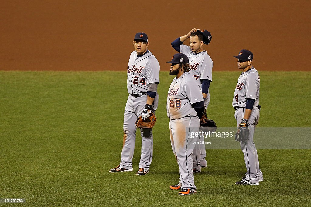 Miguel Cabrera #24, Prince Fielder #28, Jhonny Peralta #27 and Omar Infante #4 of the Detroit Tigers look on during a pitching change in the seventh inning against the San Francisco Giants during Game Two of the Major League Baseball World Series at AT&T Park on October 25, 2012 in San Francisco, California.