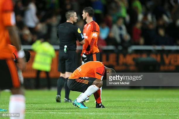 Miguel Cafu of Lorient looks dejected during the Ligue 1 match between Fc Lorient and As Monaco at Stade du Moustoir on November 18 2016 in Lorient...