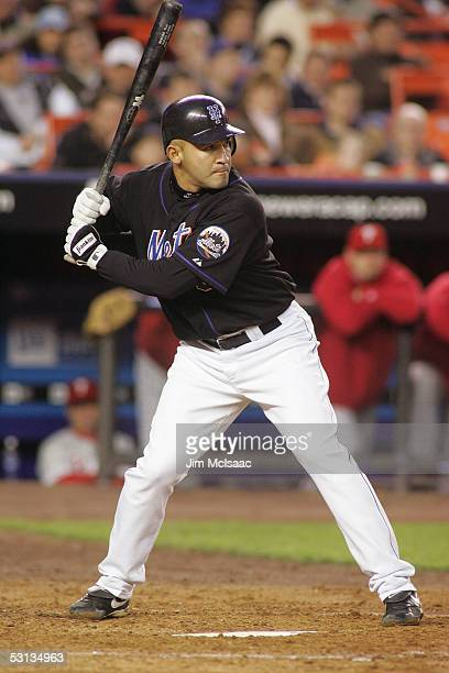 Miguel Cairo of the New York Mets bats against the Philadelphia Phillies during their game on May 4 2005 at Shea Stadium in Flushing New York The...