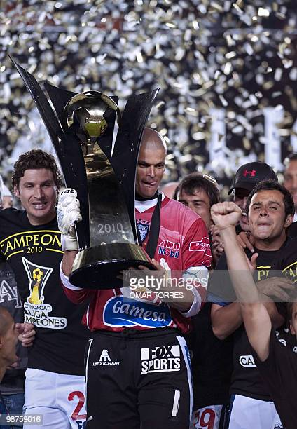 Miguel Calero captain of Mexican Pachuca lifts the trophy of the CONCACAF Champion League tournament after beating Cruz Azul by 10 on April 28 2010...