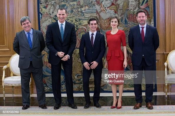 Miguel Cardenal King Felipe VI of Spain and Queen Letizia of Spain meet Javier Fernandez at Zarzuela Palace on April 22 2016 in Madrid Spain
