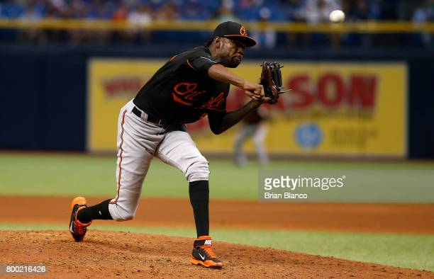Miguel Castro of the Baltimore Orioles pitches during the fifth inning of a game against the Tampa Bay Rays on June 23 2017 at Tropicana Field in St...