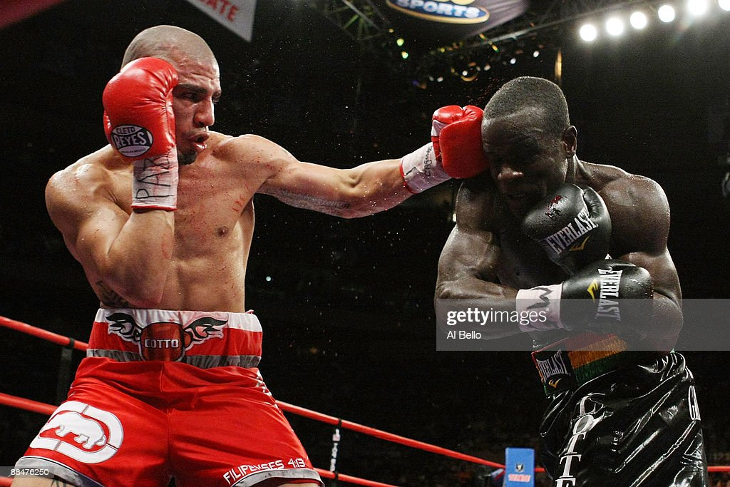 Miguel Cotto punches Joshua Clottey during their WBO Welterweight title fight at Madison Square Garden on June 13 2009 in New York City