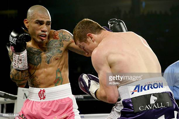 Miguel Cotto throws a left to the face of Canelo Alvarez during their middleweight fight at the Mandalay Bay Events Center on November 21 2015 in Las...