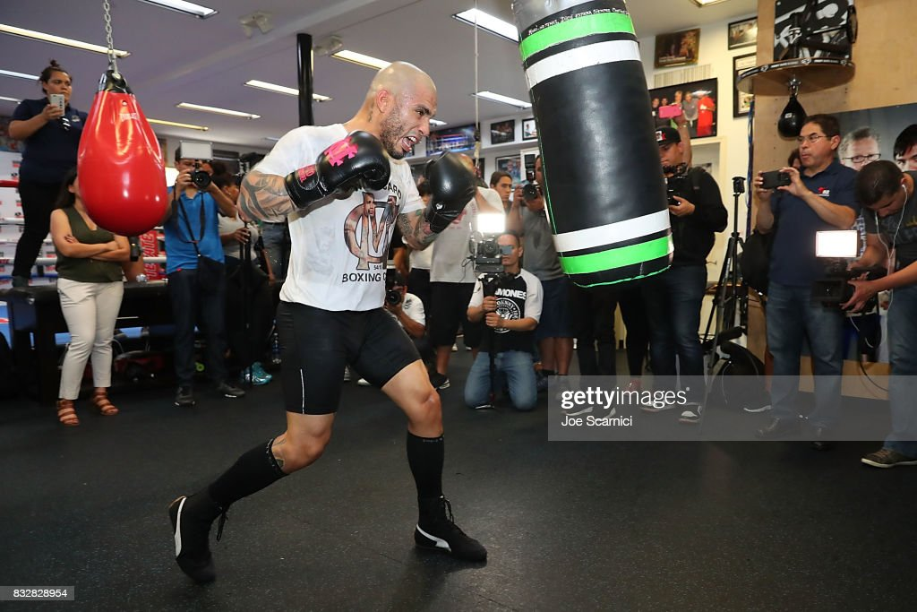 Miguel Cotto trains during a media workout at Wild Card Gym on August 16, 2017 in Los Angeles, California. Cotto will fight Yoshihiro 'El Maestrito' Kamegai for the WBO Junior Middleweight title on August 26.