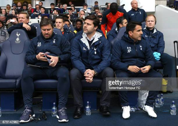 Miguel D'Agostino first team coach at Tottenham Hotspur Mauricio Pochettino Manager of Tottenham Hotspur and Jesus Perez first team coach at...