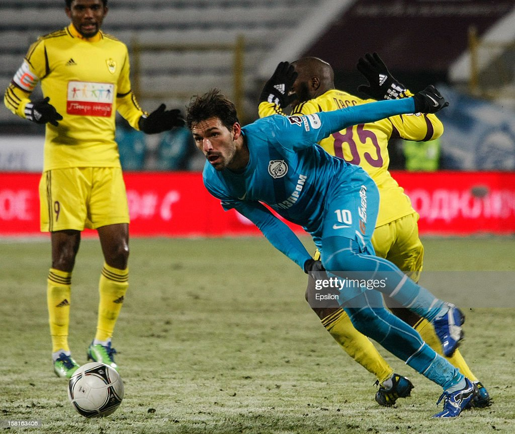 Miguel Danny of FC Zenit St. Petersburg (C) in action during the Russian Premier League match between FC Zenit St. Petersburg and FC Anzhi Makhachkala at the Petrovsky Stadium on December 10, 2012 in St. Petersburg, Russia.