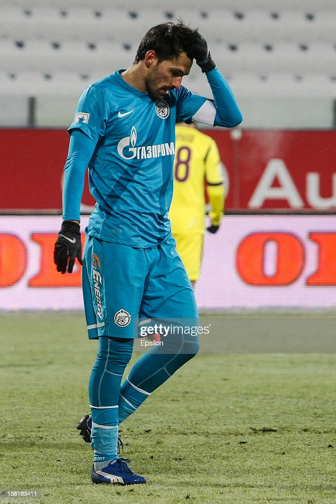 Miguel Danny of FC Zenit St. Petersburg reacts during the Russian Premier League match between FC Zenit St. Petersburg and FC Anzhi Makhachkala at the Petrovsky Stadium on December 10, 2012 in St. Petersburg, Russia.