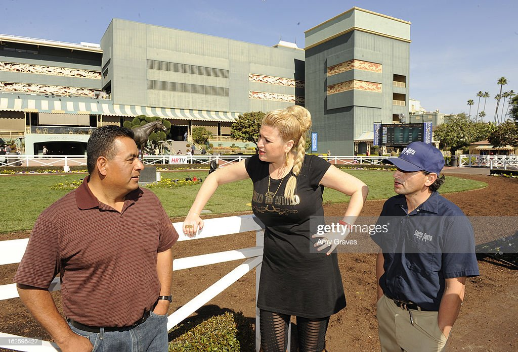 Miguel Delgado, Josie Goldberg and Ralph Castaneda attend Reality TV Personality Josie Goldberg and her race horse SpoiledandEntitled's race at Santa Anita Park on February 24, 2013 in Arcadia, California.