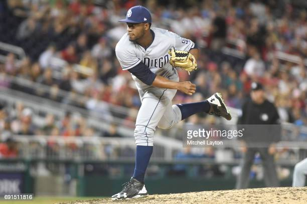 Miguel Diaz of the San Diego Padres during a baseball game against the Washington Nationals at Nationals Park on May 26 2017 in Washington DC The...