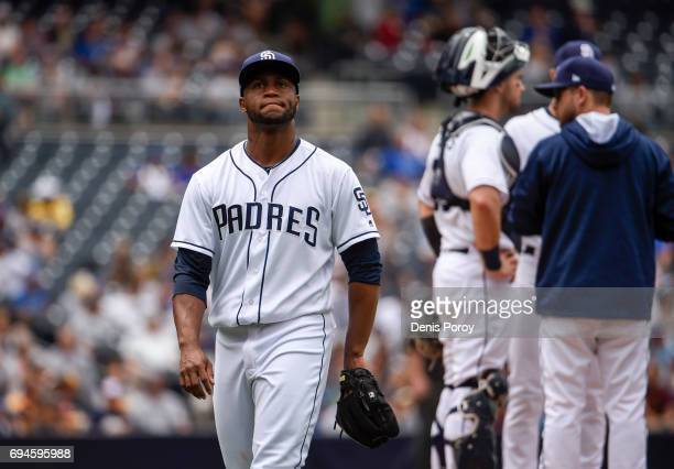 Miguel Diaz of the San Diego Padres leaves the game in the third inning of a baseball game against the Kansas City Royals at PETCO Park on June 10...