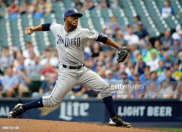 Miguel Diaz of the San Diego Padres pitches against the Milwaukee Brewers during the first inning at Miller Park on June 16 2017 in Milwaukee...