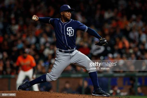 Miguel Diaz of the San Diego Padres pitches against the San Francisco Giants during the sixth inning at ATT Park on September 29 2017 in San...
