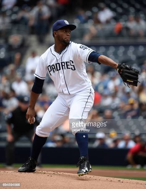 Miguel Diaz of the San Diego Padres pitches during the first inning of a baseball game against the Kansas City Royals at PETCO Park on June 10 2017...