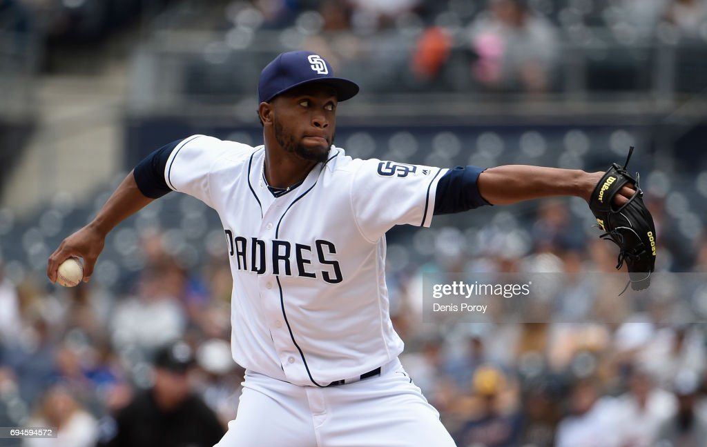 Miguel Diaz #43 of the San Diego Padres pitches during the first inning of a baseball game against the Kansas City Royals at PETCO Park on June 10, 2017 in San Diego, California.