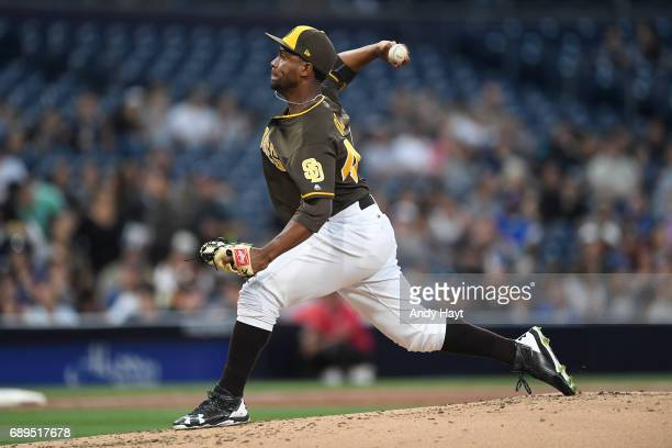 Miguel Diaz of the San Diego Padres pitches during the game against the Arizona Diamondbacks at Petco Park on May 19 2017 in San Diego California
