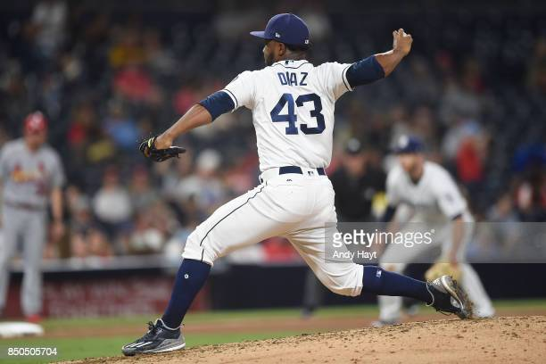 Miguel Diaz of the San Diego Padres pitches during the game against the St Louis Cardinals at Petco Park on September 5 2017 in San Diego California