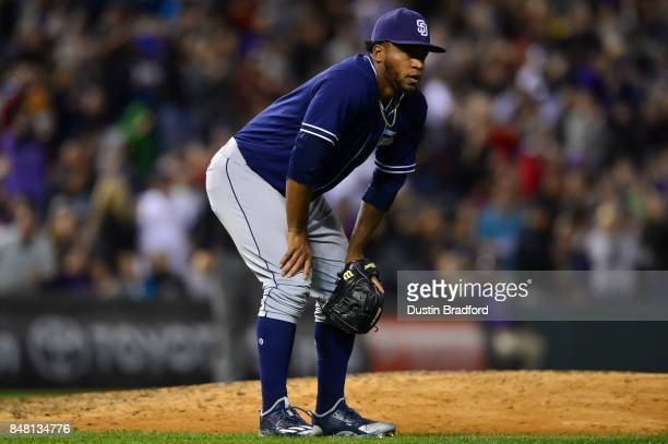 Miguel Diaz of the San Diego Padres reacts after allowing a threerun homerun to in the sixth inning of a game against the Colorado Rockies at Coors...
