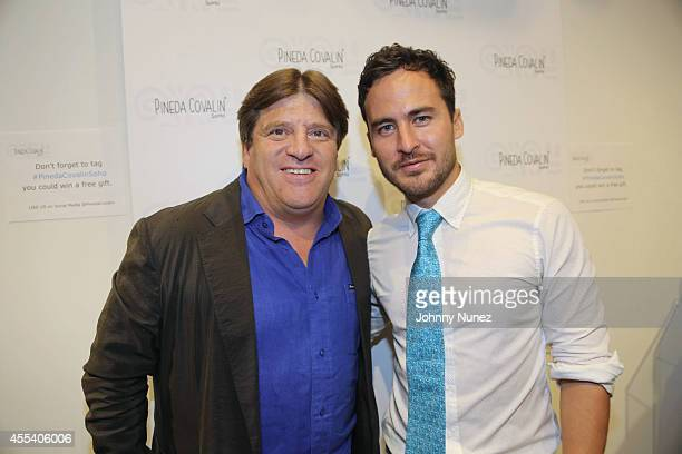 Miguel 'El Piojo' Herrera and Fernando Montes attend the Miguel 'El Piojo' Herrera meet and greet at Pineda Covalin Boutique on September 13 2014 in...