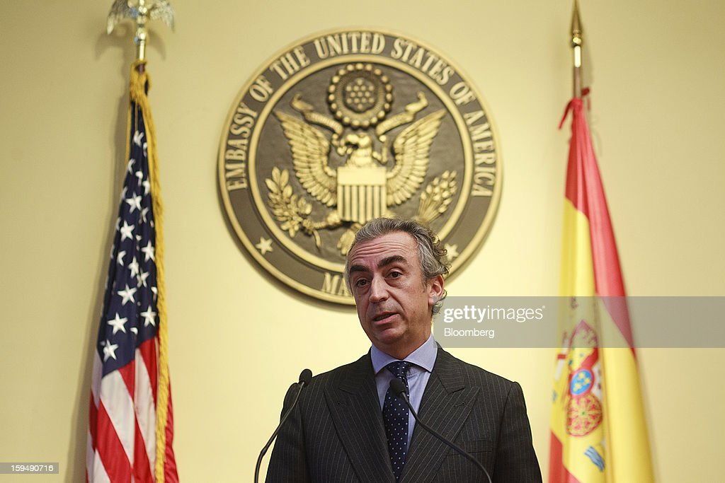 Miguel Ferre, Spain's secretary of state for the treasury, speaks during a news conference to mark a joint tax accord with the U.S. at the U.S. embassy in Madrid, Spain, on Monday, Jan. 14, 2013. European leaders declaring they've gained the upper hand in the three-year-old debt crisis are sharpening efforts to channel a rebound in financial markets to an economic recovery to chip away at soaring unemployment. Photographer: Angel Navarrete/Bloomberg via Getty Images