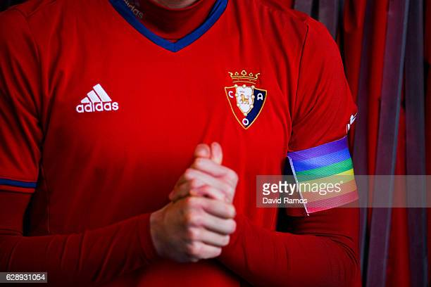 Miguel Flano of CA Osasuna wears his captain arm band with rainbow's colors during the La Liga match between CA Osasuna and FC Barcelona at Sadar...