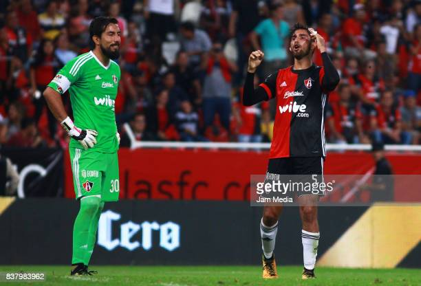 Miguel Fraga goalkeeper and Gaddi Aguirre of Atlas react during the 6th round match between Atlas and Lobos BUAP as part of the Torneo Apertura 2017...