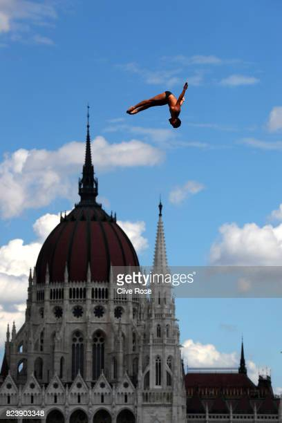 Miguel Garcia of Colombia competes during the Men's High Dive preliminary round on day fifteen of the Budapest 2017 FINA World Championships on July...