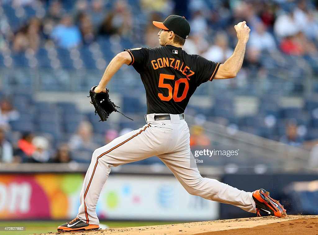 Miguel Gonzalez #50 of the Baltimore Orioles delivers a pitch in the first inning against the New York Yankees on May 8, 2015 at Yankee Stadium in the Bronx borough of New York City.
