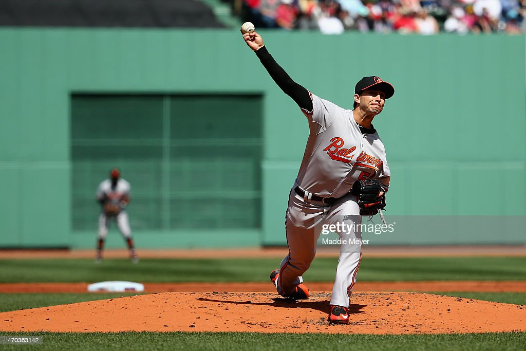 Miguel Gonzalez #50 of the Baltimore Orioles pitches against the Boston Red Sox during the first inning at Fenway Park on April 19, 2015 in Boston, Massachusetts.