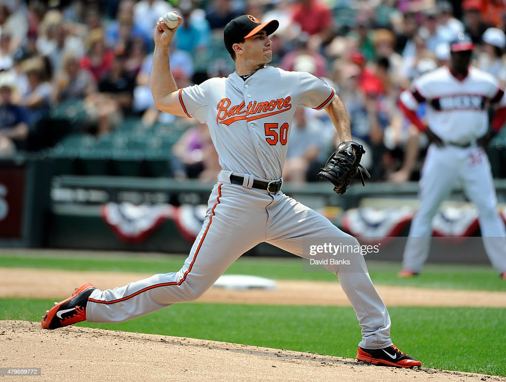 Miguel Gonzalez #50 of the Baltimore Orioles pitches against the Chicago White Sox during the first inning on July 5, 2015 at U. S. Cellular Field in Chicago, Illinois.