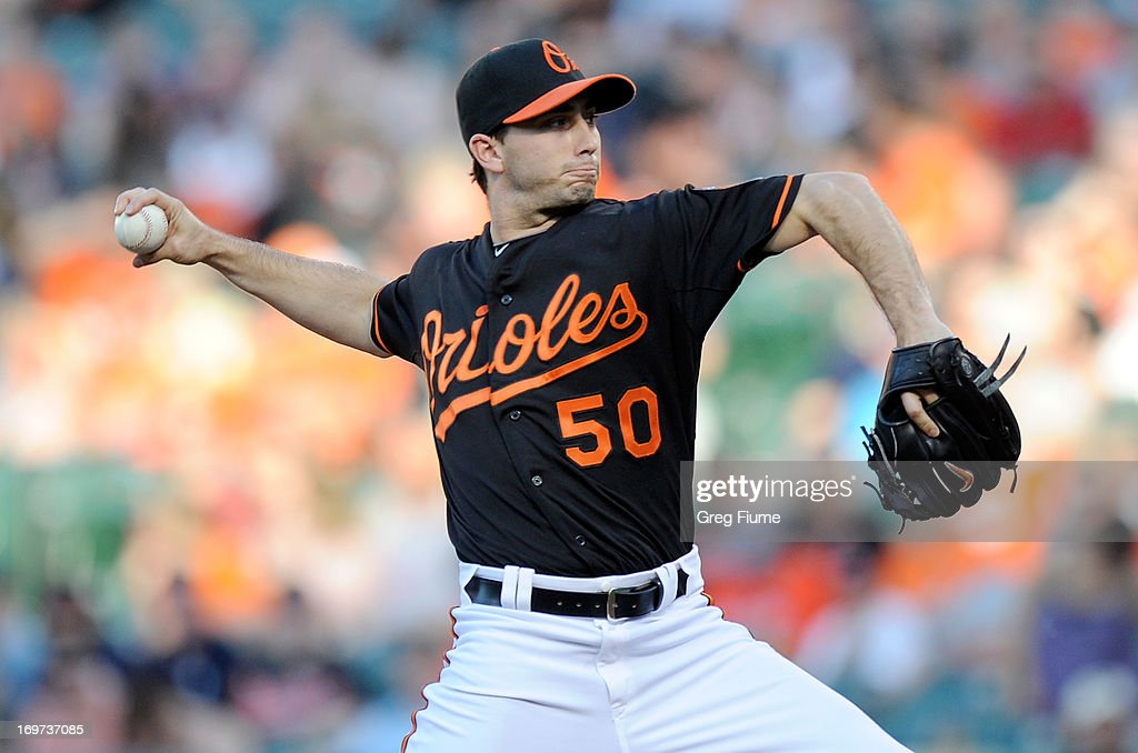 Miguel Gonzalez #50 of the Baltimore Orioles pitches in the first inning against the Detroit Tigers at Oriole Park at Camden Yards on May 31, 2013 in Baltimore, Maryland.