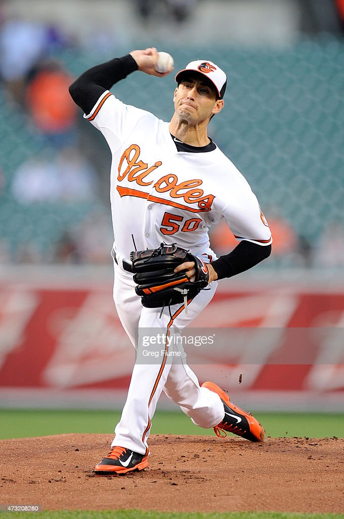 Miguel Gonzalez #50 of the Baltimore Orioles pitches in the first inning against the Toronto Blue Jays at Oriole Park at Camden Yards on May 13, 2015 in Baltimore, Maryland.