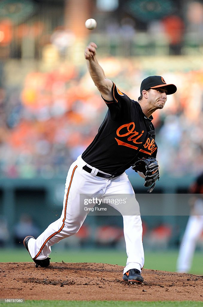 Miguel Gonzalez #50 of the Baltimore Orioles pitches in the second inning against the Detroit Tigers at Oriole Park at Camden Yards on May 31, 2013 in Baltimore, Maryland.