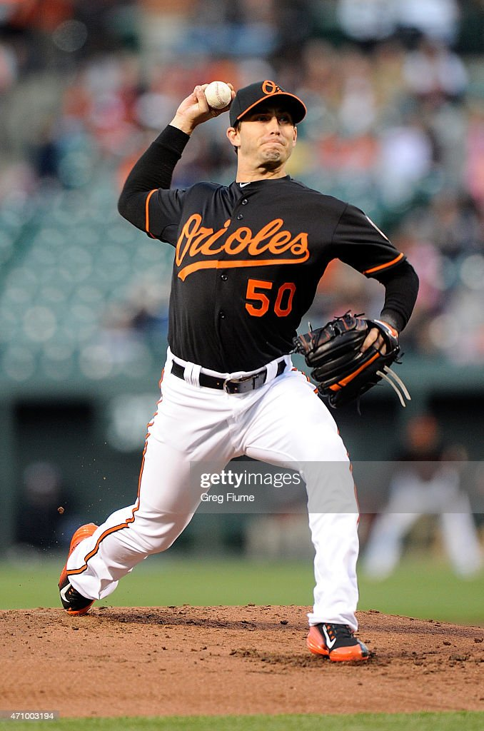 Miguel Gonzalez #50 of the Baltimore Orioles pitches in the second inning against the Boston Red Sox at Oriole Park at Camden Yards on April 24, 2015 in Baltimore, Maryland.