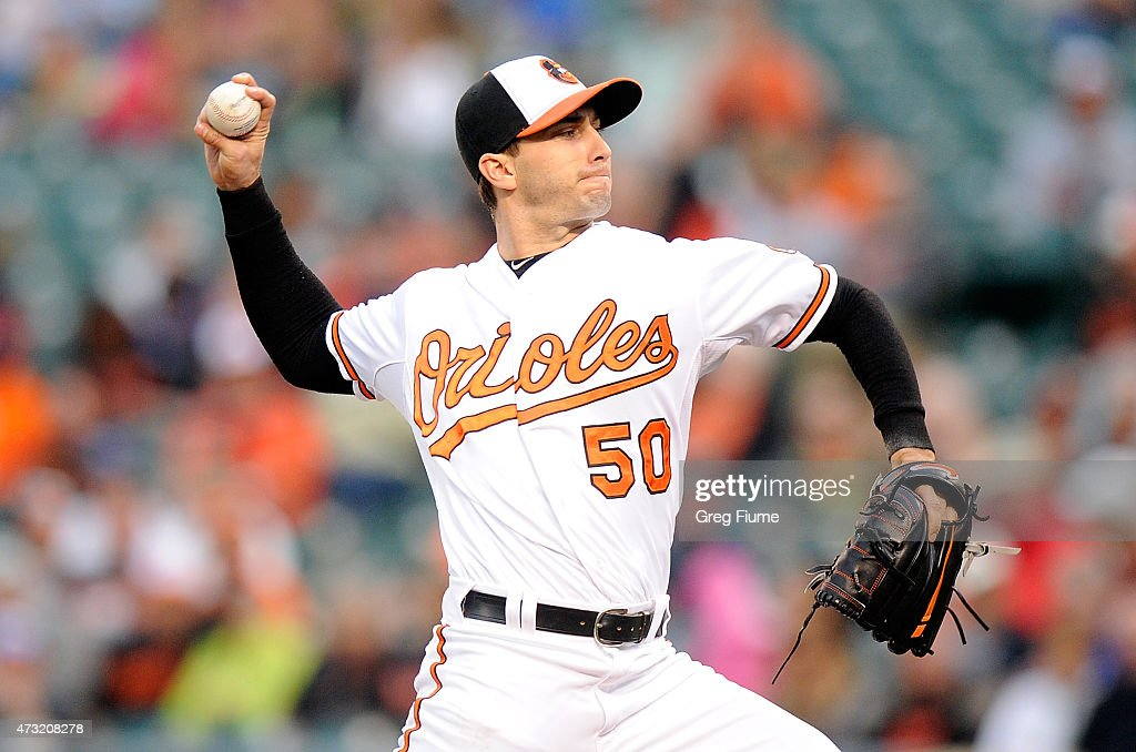 Miguel Gonzalez #50 of the Baltimore Orioles pitches in the second inning against the Toronto Blue Jays at Oriole Park at Camden Yards on May 13, 2015 in Baltimore, Maryland.