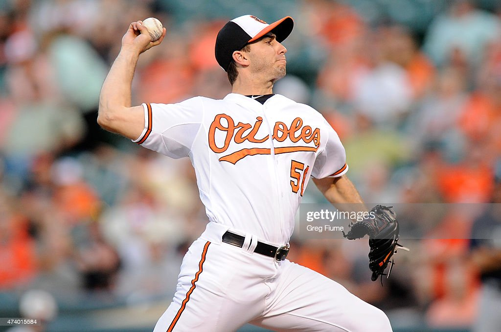 Miguel Gonzalez #50 of the Baltimore Orioles pitches in the second inning against the Seattle Mariners at Oriole Park at Camden Yards on May 19, 2015 in Baltimore, Maryland.